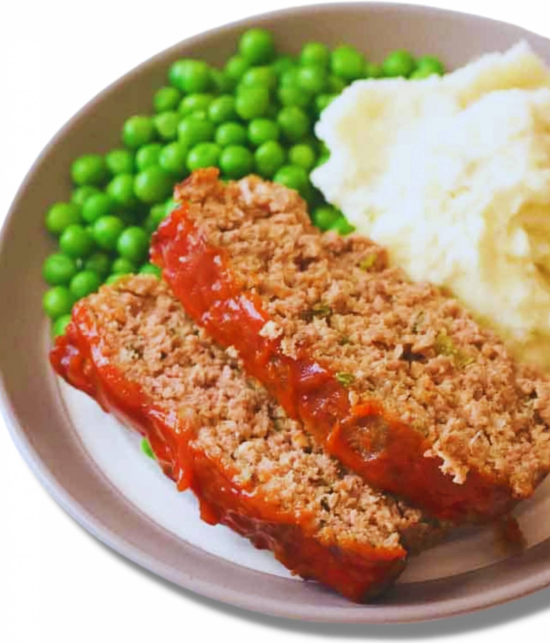 Turkey Meatloaf | Served with Mash Potatoes and Green Peas