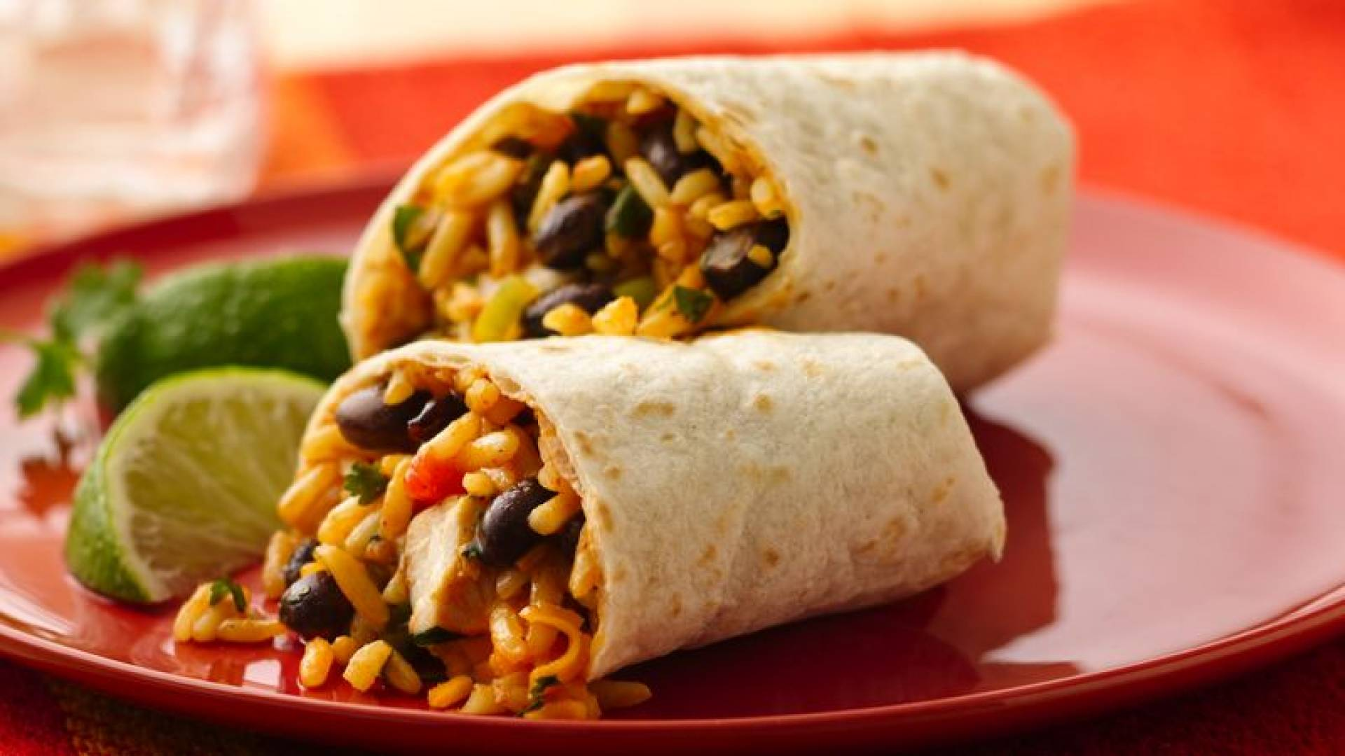 Chicken Burrito|  Served with Chipotle-lime BBQ sauce