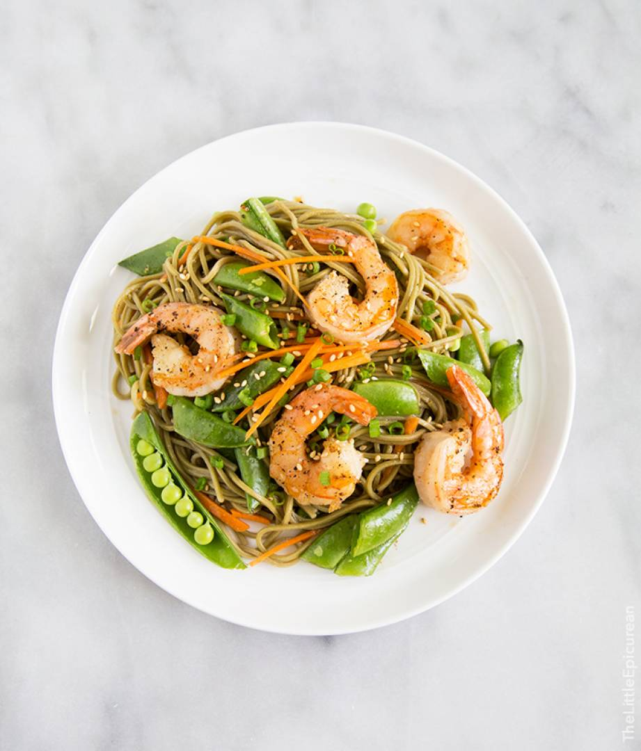 Prawn Stir-fry | Served with Soba noodles and Snap peas