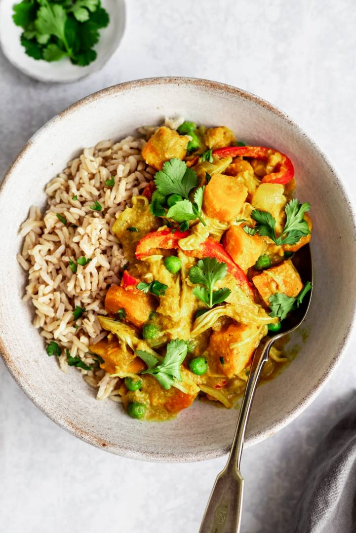Coconut Chicken Curry   Served with Brown Rice and Mixed Vegetables