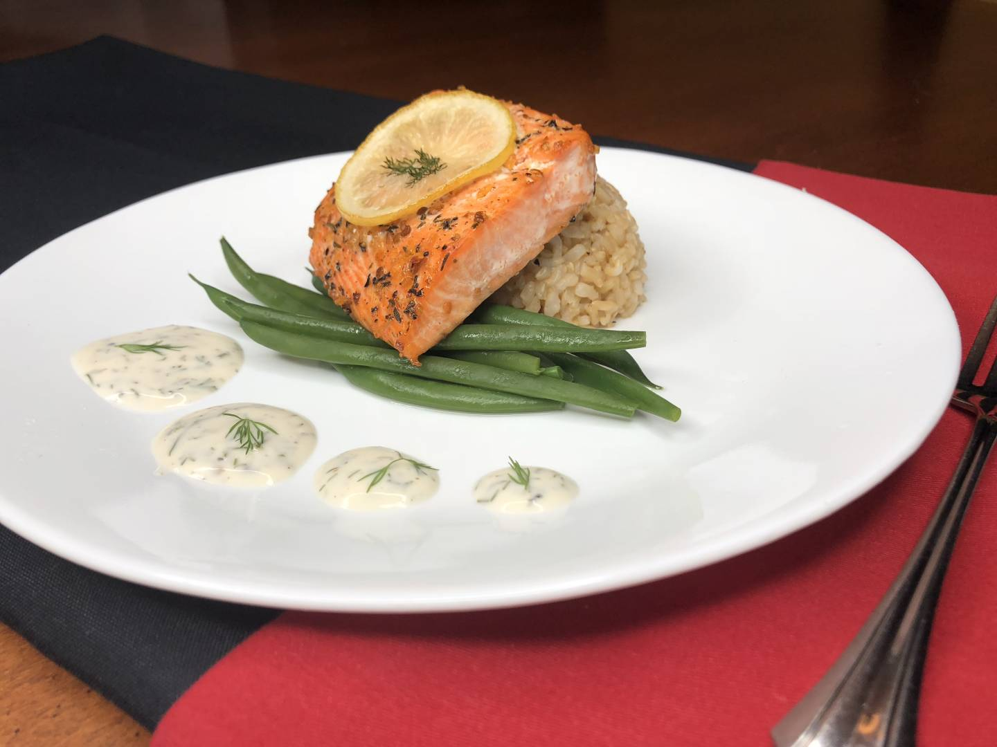 Macro Meal: Lemon Dill Salmon | Served with Brown rice and Green Beans