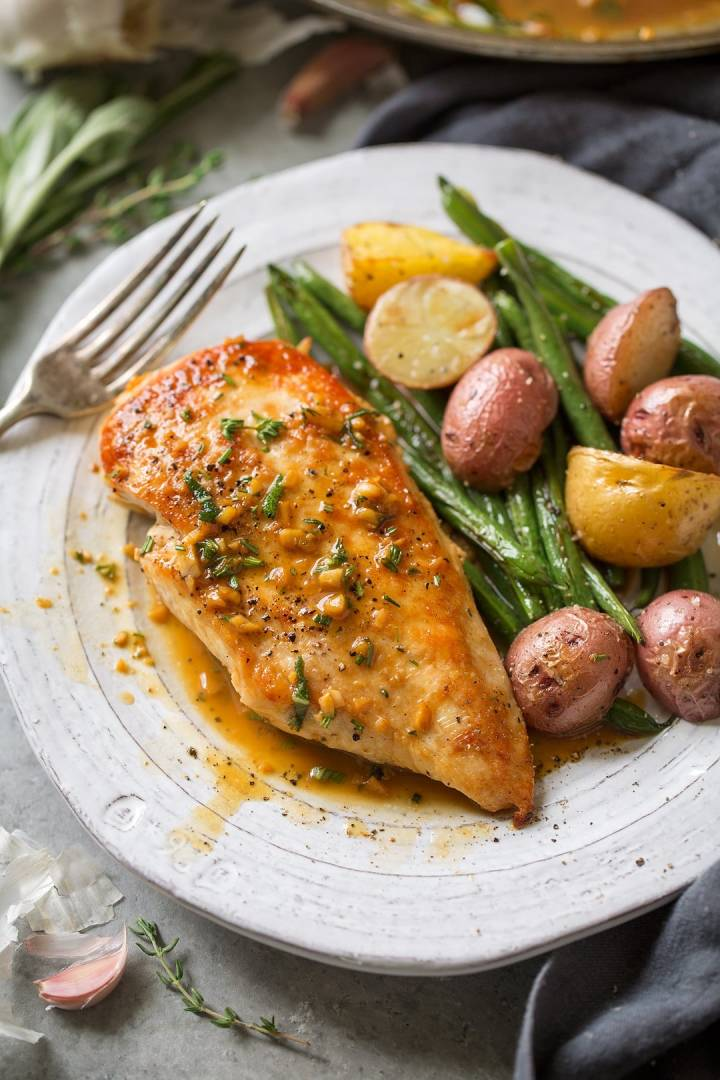 Pan Seared Organic Chicken   Served with Green Beans and Roasted Potatoes