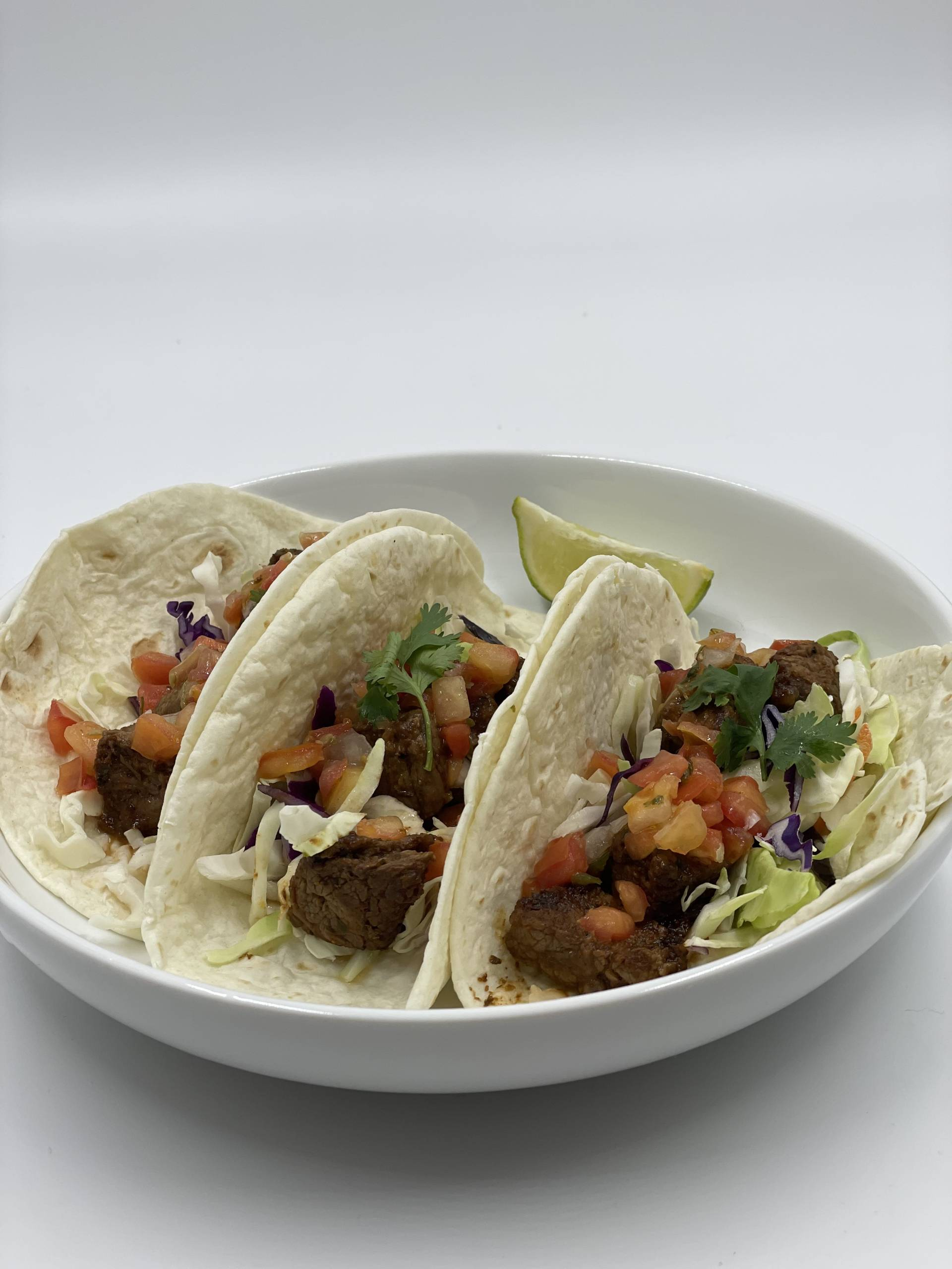 Softshell Steak Tacos | Served with Guacamole and Fresh Pico de Gallo